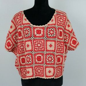 Mink Pink Boho Cropped Granny Square Sweater S-M